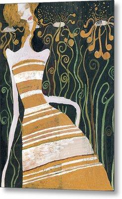 Stripe Dress Metal Print by Maya Manolova