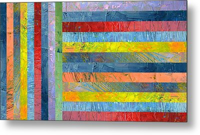 Stripes With Blue And Red Metal Print by Michelle Calkins