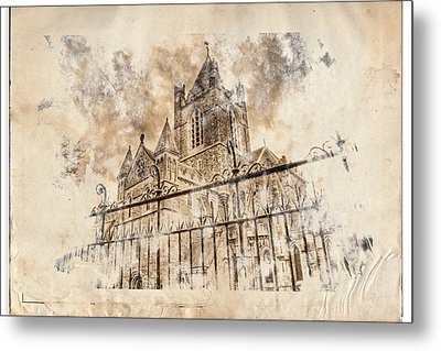 Stroked S.patrick Cathedral Metal Print by Andrea Barbieri