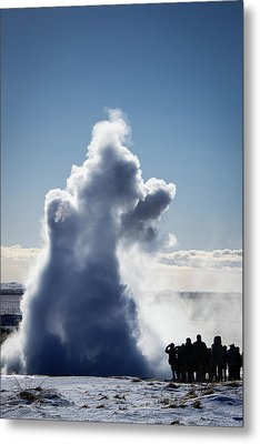 Metal Print featuring the photograph Strokkur Geyser In Iceland by Matthias Hauser