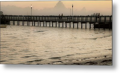 Stroll On The Pier Metal Print by Rose  Hill