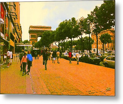 Strollers Along The Champs Elysees Metal Print