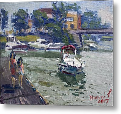 Strolling Along North Tonawanda Harbor Metal Print by Ylli Haruni