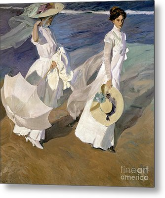 Strolling Along The Seashore Metal Print by Joaquin Sorolla y Bastida