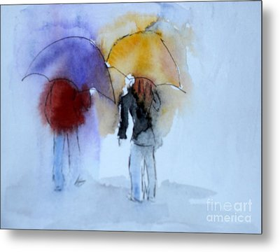 Strolling In The Rain Metal Print by Vicki  Housel