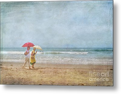 Metal Print featuring the photograph Strolling On The Beach by David Zanzinger