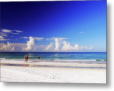 Metal Print featuring the photograph Strolling The Beach by Gary Wonning