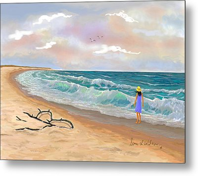 Metal Print featuring the painting Strolling The Beach by Sena Wilson