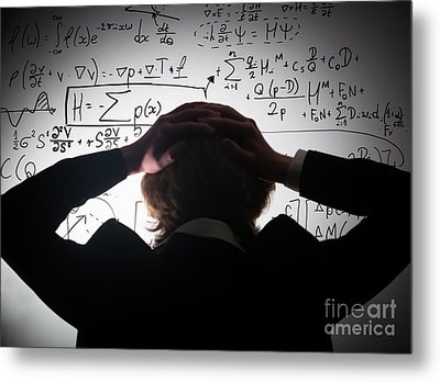 Student Holding His Head Looking At Complex Math Formulas On Whiteboard Metal Print