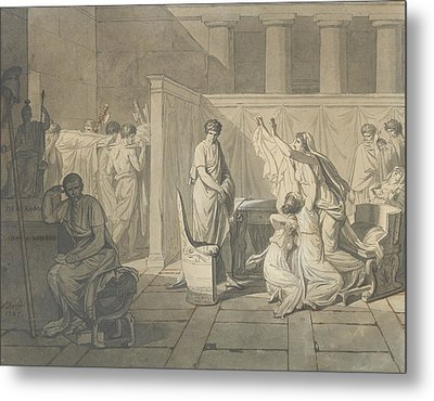 Study For The Lictors Bringing Brutus The Bodies Of His Sons Metal Print by Jacques-Louis David