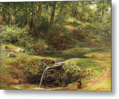 Study For The Sylvan Spring, 1854 Metal Print by Richard Redgrave