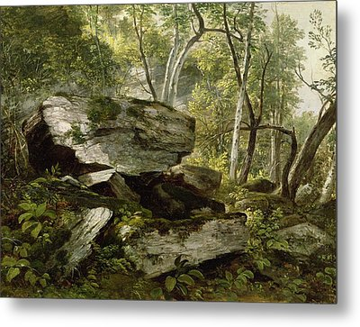 Study From Nature   Rocks And Trees Metal Print by Asher Brown Durand