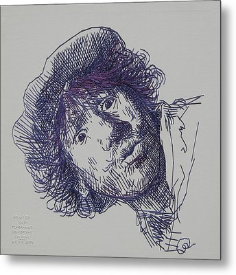 study-in-thread of 1630 Rembrandt self-portrait etching Metal Print by Barbara Lugge