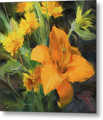 Study In Yellow Metal Print by Anna Rose Bain