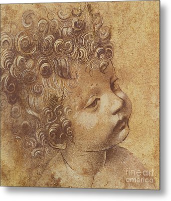 Study Of A Child's Head Metal Print