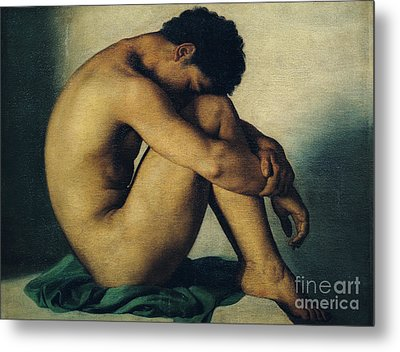 Study Of A Nude Young Man Metal Print by Hippolyte Flandrin