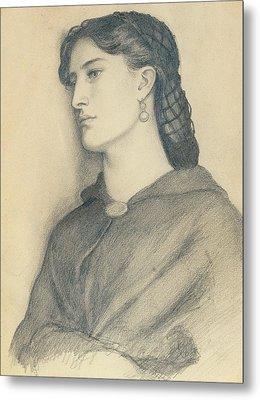 Study Of Aggie Manetti  Metal Print by Dante Gabriel Charles Rossetti