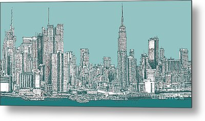 Study Of New York City In Turquoise  Metal Print by Adendorff Design