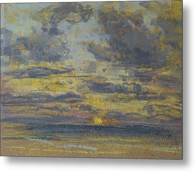 Study Of The Sky With Setting Sun Metal Print by Eugene Louis Boudin