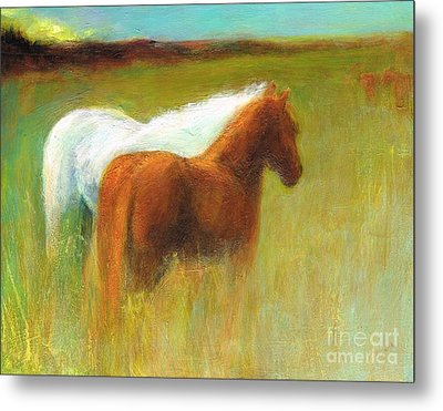 Metal Print featuring the painting Study Of Two Ponies by Frances Marino