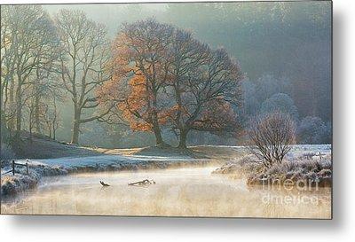 stunning winter light on the river Brathay Metal Print