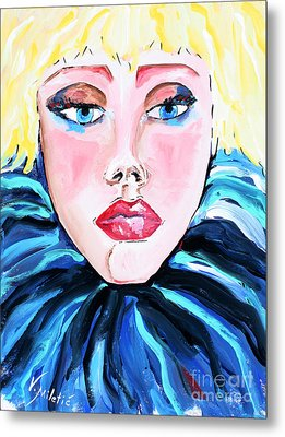 Stupsnase - Blonde Woman Face Art By Valentina Miletic  Metal Print by Valentina Miletic