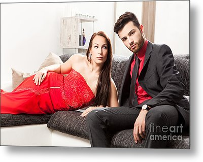 Stylish Young Couple On A Couch Metal Print