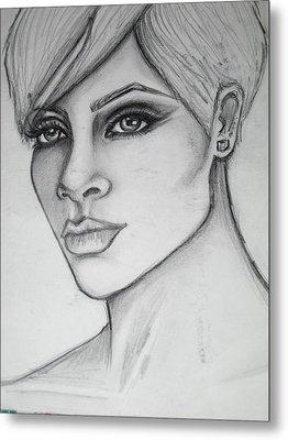 stylized portrait of Rihanna Metal Print by Dana Biviano