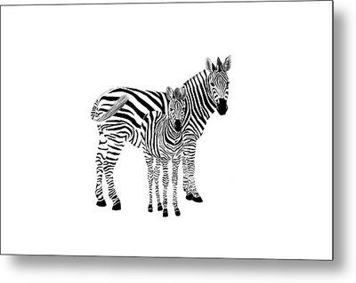 Stylized Zebra With Child Metal Print