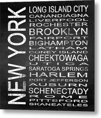 Subway New York State 3 Square Metal Print