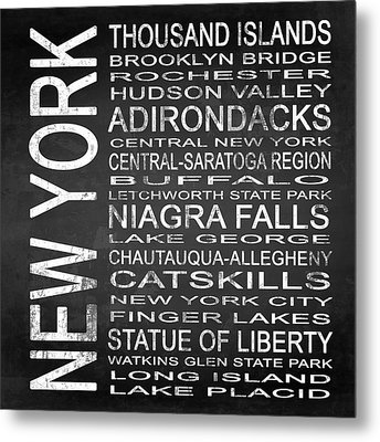 Subway New York State 4 Square Metal Print by Melissa Smith