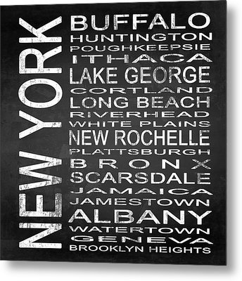 Subway New York State Square Metal Print by Melissa Smith