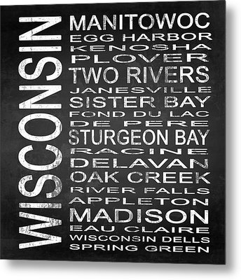 Subway Wisconsin State Square Metal Print by Melissa Smith