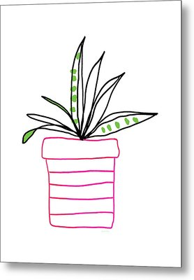 Metal Print featuring the mixed media Succulent In A Pink Pot- Art By Linda Woods by Linda Woods