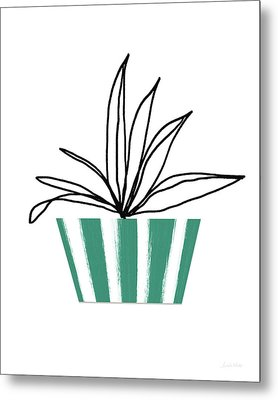 Metal Print featuring the mixed media Succulent In Green Pot 3- Art By Linda Woods by Linda Woods