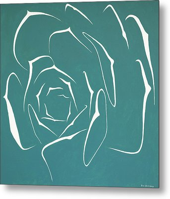 Metal Print featuring the painting Succulent In Turquoise by Ben Gertsberg