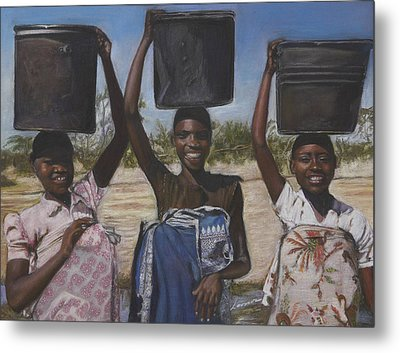 Sudanese Women Coming From The Borehole Metal Print by Leonor Thornton