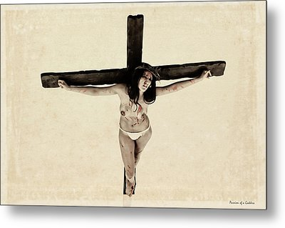 Suffering Of A Woman On Cross Metal Print