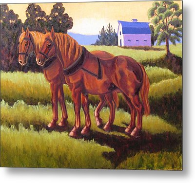 Suffolk Punch Day Is Done Metal Print