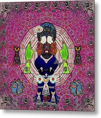 Sugar And  Floral  Skull Looking Good Metal Print by Pepita Selles