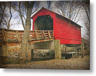 Sugar Creek Covered Bridge 3 Metal Print by Marty Koch