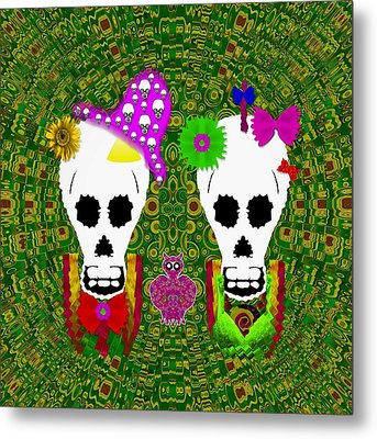 Sugarskull And Flowerskull And A Owl Metal Print