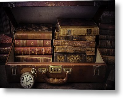 Suitcase Full Of Books Metal Print by Garry Gay