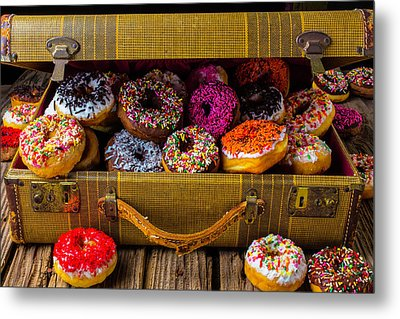 Suitcase Full Of Donuts Metal Print by Garry Gay