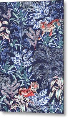 Sumatran Tiger, Blue Metal Print by Jacqueline Colley