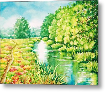 Metal Print featuring the painting Summer Along The Creek by Inese Poga