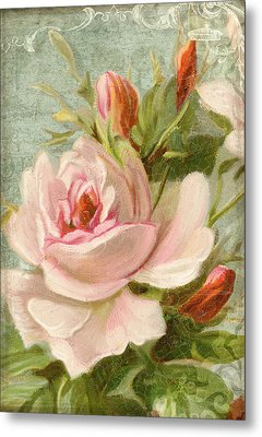 Summer At Cape May - Porch Roses Metal Print by Audrey Jeanne Roberts