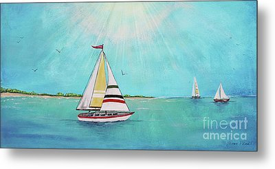 Metal Print featuring the painting Summer Breeze-b by Jean Plout