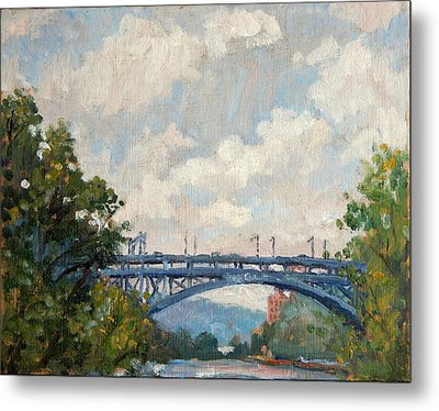 Summer Clouds Henry Hudson Bridge From Inwood Nyc Metal Print by Thor Wickstrom
