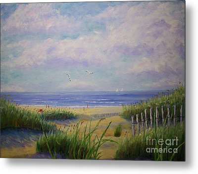 Summer Day At The Beach Metal Print by Stanton Allaben